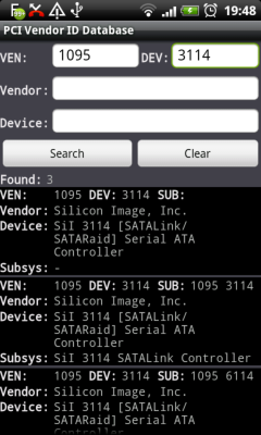 PCI Vendor ID DB Screenshot 1